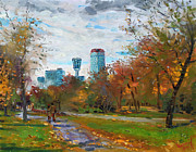 Lanscape Paintings - Niagara Falls Park by Ylli Haruni