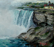 Lanscape Paintings - Niagara Falls Rocks by Ylli Haruni