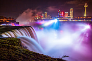 Canadian Scenery Framed Prints - Niagara Night Framed Print by Adam Pender