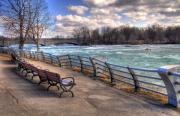 Benches Posters - Niagara Rapids in Early Spring Poster by Tammy Wetzel