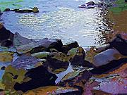Base Paintings - Niagara River Rocks by Deborah MacQuarrie