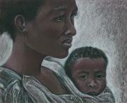 Mother And Child Drawings - Nice And Secure by Linda Kemp