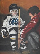 Hockey Painting Prints - Nice and Tight Print by Ron  Genest