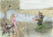 Duck Hunting Drawings - Nice Mallards by Steve Royce Griffin