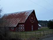 Old Barns Pyrography Metal Prints - Nice Red Barn Metal Print by Laurie Kidd
