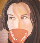 Coffee Drinking Pastels Posters - Nice Vice Thrice first part Poster by Gail Cowan
