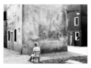 People Photos Digital Art Framed Prints - Nice View - Black and White - Burano - Italy Framed Print by Marco Hietberg