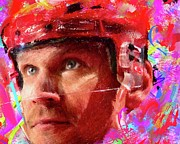 Hockey Painting Prints - Nick Lindstrom Print by Donald Pavlica