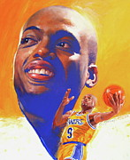 Basketball Abstract Paintings - Nick Van Exel by Cliff Spohn