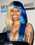 Blue Hair Prints - Nicki Minaj At The Press Conference Print by Everett