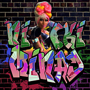Nicki Minaj Prints - Nicki Minaj Graffiti by GBS Print by Anibal Diaz