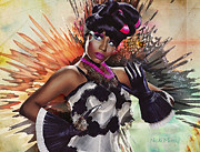 Nicki Minaj Prints - Nicki Minaj Splatter by GBS Print by Anibal Diaz