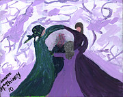 Greeting Cards Ovarian Cancer Painting Prints - Nickis Support Circle Print by Annette McElhiney