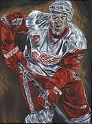 Hockey Painting Originals - Nicklas Lidstrom by David Courson