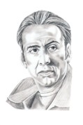 Portrait Drawings - Nicolas Cage by Murphy Elliott