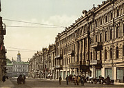 Kiev Framed Prints - Nicolviewskaia street in Kiev - Ukraine - ca 1900 Framed Print by International  Images