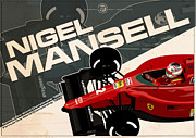 Making Digital Art Framed Prints - Nigel Mansell - F1 1990 Framed Print by Evan DeCiren