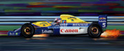 Car Racing Posters - Nigel Mansell Williams FW14B Poster by David Kyte