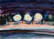 Moment Painting Originals - Night Alley of Midnapore by Anna  Duyunova