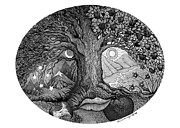 Fantasy Tree Drawings - Night and Day by Caroline Czelatko