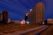 Grain Mill Prints - Night At Elevator Alley Print by Don Nieman