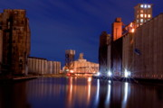 Grain Mill Prints - Night At Ohio Street Bridge Print by Don Nieman