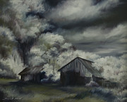 Building Painting Originals - Night Barn by James Christopher Hill