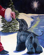 Afghan Hound Paintings - Night Before Xmas by Terry  Chacon