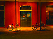 French Doors Digital Art Prints - Night Bikes Print by Leilani Worrell