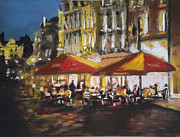 City Streets Pastels Posters - Night Bistro Poster by Paul Mitchell