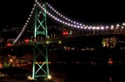 Vancouver At Night Framed Prints - Night Bridge Framed Print by Anna Lyndi