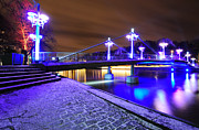 Night Lamp Prints - Night bridge in Turku Print by Roman Rodionov