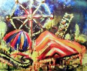 Rides Painting Originals - Night Carnival by Linda Shackelford