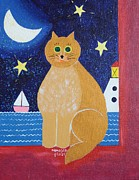 Cat And Moon Paintings - Night Cat by Monica Moser