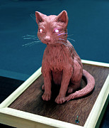 Clay Modeling Sculptures - Night cat by Yelena Rubin