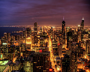 Crowded Prints - Night Cityscape Of Chicago Print by Jacob D. Moore