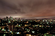 Illuminated Tapestries Textiles - Night Cityscape by People are strange by Patricia Kroger