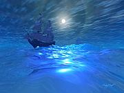 Boating Digital Art - Night Crossing by Corey Ford