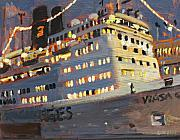 Boat Paintings - Night Cruise by Brian Simons