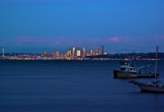 Sound Digital Art - Night descending on Seattle by Dale Stillman