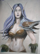 Elf Pastels Framed Prints - Night Elf Huntress Framed Print by Petra Micuda