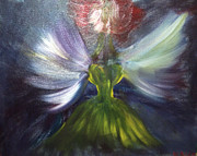 Yellow Fairy Painting Originals - Night Fairy by Violette  L Meier