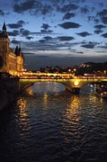 Night Fall Over The Seine Print by Shawna Gibson
