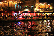 San Antonio River Walk Framed Prints - Night Glow on River Walk Framed Print by Carol Groenen
