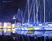 Night Scenes Painting Originals - Night Harbor by Aaron Memmott