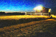 Wheat Digital Art - Night Harvest by Wingsdomain Art and Photography