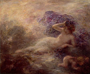 Mist Painting Posters - Night Poster by Ignace Henri Jean Fantin Latour