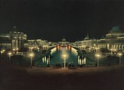 Expositions Framed Prints - Night Illumination Grand Court Framed Print by Everett