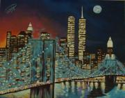 Brooklyn Bridge Painting Originals - Night in Manhattan by Milagros Palmieri