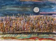 Moonlight Drawings Posters - Night in the Cornfield Poster by John  Williams